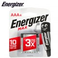 ENERGIZER MAX AAA - 4 PACK (MOQ 12)