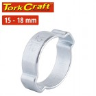 TORK CRAFT DOUBLE EAR CLAMP C/STEEL 15-18MM (10PC PER PACK)