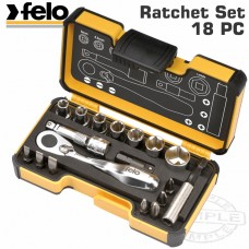 "FELO 057 MIN.RATCHET SET 18PCS BIT/SOCK. 1/4"" STRONGBOX"