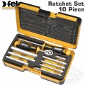 "FELO 057 ERG. RATCHET SET 10PCS NUT DR. 1/4"" STRONG BOX"