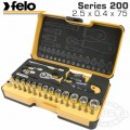 "FELO 057 ERG. RATCHET SET 36PCS BIT/SOCK. 1/4"" STRONGBOX"