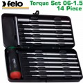 FELO 100 TOR. S/DRIVER SET 14PCS 0.6-1.5NM GREEN METAL CASE