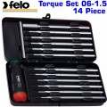 FELO 100 TOR. S/DRIVER SET 14PCS 1.5-3.0NM BLUE METAL BOX