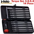 FELO 100 TOR. S/DRIVER SET 14PCS 3.0-5.4NM RED METAL BOX
