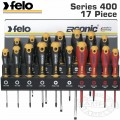 FELO 400 S/DRIVER SET 17PC ERGONIC/VDE XXL-STEEL RACK SL/PH/PZ/TX WALL