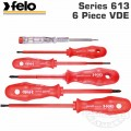 FELO 613 S/DRIVER SET 6PC PROFI SUPER INSULATED VDE SL/PH/MAINS TESTER