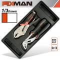 "FIXMAN TRAY 2 PIECE PLIER SET GROOVE JOINT PLIERS 10"" AND LOCK GRIP PL"