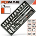 "FIXMAN TRAY 24 PIECE 3/8"" DRIVE SOCKETS AND ACCESSORIES"