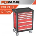 FIXMAN 7 DRAWER ROLLER CABINET ON CASTORS WITH 12 TRAYS OF STOCK 958MM