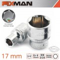 "FIXMAN 3/8"" DRIVE HEX SOCKET 17MM"
