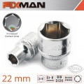 "FIXMAN 3/8"" DRIVE HEX SOCKET 22MM"