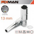 "FIXMAN 1/4"" DR DEEP SOCKET 13MM"