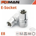 "FIXMAN 1/4"" DRIVE E-SOCKET 6 POINT E8"