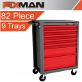 FIXMAN 7 DRAWER ECONOMY LINE ROLLER CABINET WITH 9 TRAYS OF STOCK