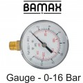 PRESSURE GAUGE 0-16BAR 1/4LOWER63MM PACKAGED