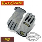 MECHANICS GLOVE LARGE SYNTHETIC LEATHER PALM SPANDEX BACK