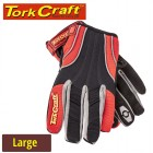 MECHANICS GLOVE LARGE SYNTHETIC LEATHER REINFORCED PALM SPANDEX RED