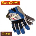 MECHANICS GLOVE X LARGE SYNTHETIC LEATHER PALM AIR MESH BACK BLUE