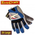 MECHANICS GLOVE 3XL LARGE SYNTHETIC LEATHER PALM AIR MESH BACK BLUE