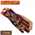 LADIES SLIM FIT GARDEN GLOVES MAROON X-SMALL