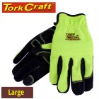 GLOVE YELLOW WITH PU PALM SIZE LARGE  MULTI PURPOSE