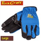 GLOVE BLUE WITH PU PALM SIZE LARGE  MULTI PURPOSE