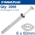 POL HAMMER-IN FIXING 6X60MM+ CSK HEAD X2000 PER BOX