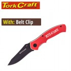 KNIFE FOLDABLE UTILITY RED WITH G10 MATERIAL HANDLE AND BELT CLIP