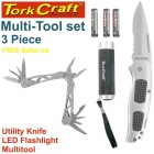 MULTI TOOL 3PC SET TORCH KNIFE MULTI TOOL COMES WITH FREE BATTERIES