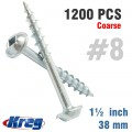 "KREG POCKET HOLE SCREWS 1-1/2"" #8 COARSE WASHER HEAD 1200CT"
