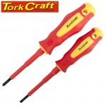 2PC SCREWDRIVER INSULATED VDE 3.5X75MM SLOTTED & PH1X80MM