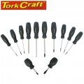 SCREWDRIVER SET 12PC CRV BLACK HANDLE