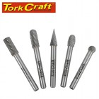 ROTARY BURR SET 5 PC ASSTD 8MM DIA TUNGSTEN