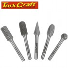 ROTARY BURR SET 5 PC ASSTD 12MM DIA TUNGSTEN