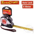 MEASURING TAPE SELF LOCK 8M X 25MM S/S & RUBBER CASING MATT FINISH