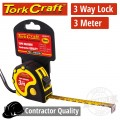 MEASURING TAPE  MULTI LOCK 3M X 16MM RUBBER CASING MATT FINISH