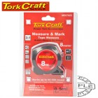 MEASURING TAPE WITH  MARKER 8M X 25MM RUBBER CASING MATT FINISH