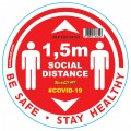 RED 1.5M DBL ARROW FILLED - 300MM ROUND SOCIAL DISTANCING GRAPHIC