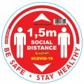RED 1.5M DBL ARROW FILLED - 400MM ROUND SOCIAL DISTANCING GRAPHIC