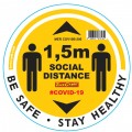 YELLOW 1.5M DBL ARROW FILLED - 300MM ROUND SOCIAL DISTANCING GRAPHIC