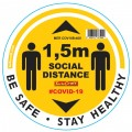 YELLOW 1.5M DBL ARROW FILLED - 400MM ROUND SOCIAL DISTANCING GRAPHIC