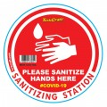 RED SANITISE HERE - 170MM ROUND AWARENESS GRAPHIC