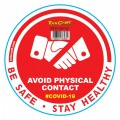RED AVOID PHYSICAL CONTACT - 170MM ROUND AWARENESS GRAPHIC