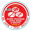 RED NO TOUCHING FACE - 170MM ROUND AWARENESS GRAPHIC