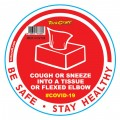 RED COUGH & SNEEZE INTO TISSUE - 170MM ROUND AWARENESS GRAPHIC