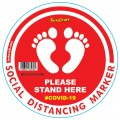 RED FEET STAND HERE - 300MM ROUND SOCIAL DISTANCING GRAPHIC