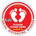 RED FEET STAND HERE - 400MM ROUND SOCIAL DISTANCING GRAPHIC