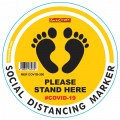 YELLOW FEET STAND HERE - 300MM ROUND SOCIAL DISTANCING GRAPHIC