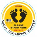 YELLOW FEET STAND HERE - 400MM ROUND SOCIAL DISTANCING GRAPHIC