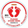 WHITE FEET STAND HERE - 300MM ROUND SOCIAL DISTANCING GRAPHIC